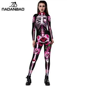Image 1 - NADANBAO Neue Rose Skeleton Kostüm Overall 3D Drucken Scary Halloween Kostüme Für Frauen Mechanische Schädel Plus Size Body