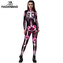 NADANBAO New Rose Skeleton Costume Jumpsuit 3D Print Scary Halloween Costumes For Women Mechanical Skull Plus Size Bodysuit