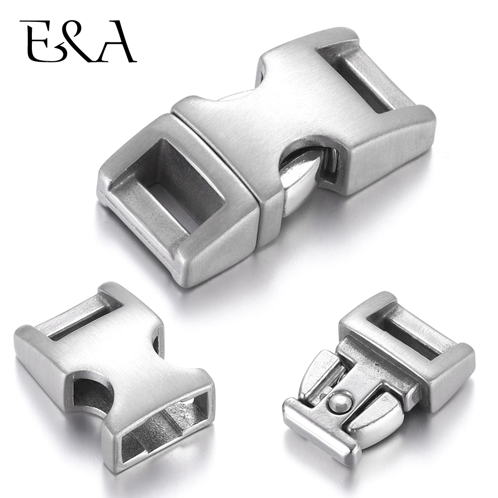 Stainless Steel Bayonet Clasp Hole 10*3mm Push Lock Closure Belt Prong Snap Buckle For DIY Leather Cord Bracelet Jewelry Making