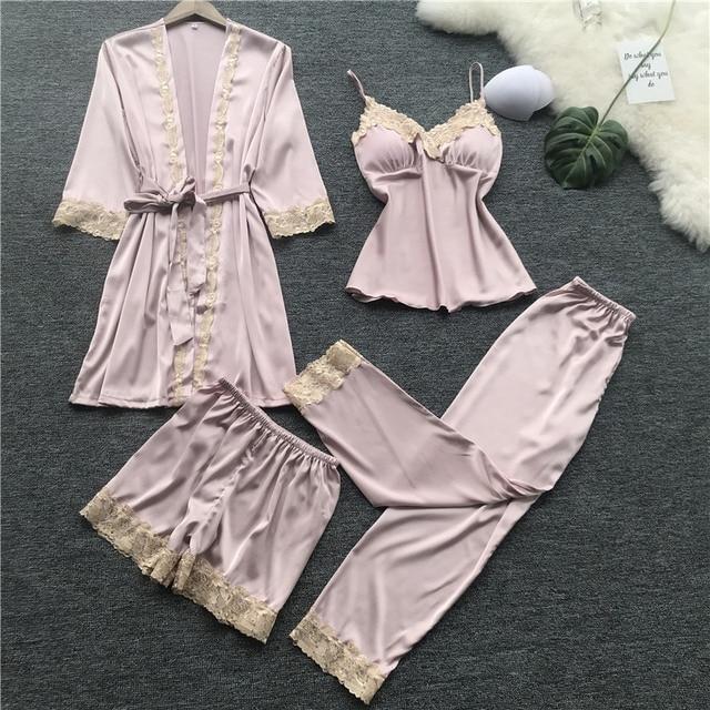 1c81f3a02 Freshing 4 pcs Mulher Primavera Verão Sexy Pijamas Set Camisola Coreano  Pijama Sleepwear