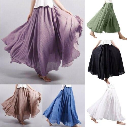 Summer Women's Linen Pleated Maxi Long Beach Boho Vintage Casual  Skirt