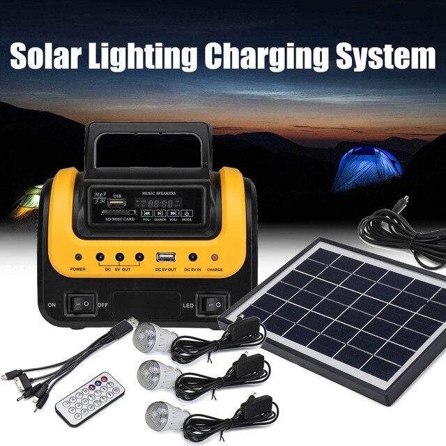 Portable Solar Panel Power Generator LED Lighting System Kit MP3 Flashlight USB Charger 3 LED Bulbs Outdoor Emergency Power 1
