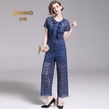 New Pants, Ruffle, Short-sleeve, Sweet blue Lace Trousers, Summer Micro-horn, Waist, Jumpsuit, Woman Rompers Womens Jumpsuit(China)