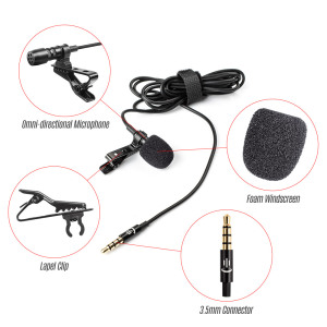 Image 2 - Lavalier Lapel Clip on Microphone Mic 3.5mm Audio Mic for Smartphone Camera Computer Laptop for Video Recording Interview