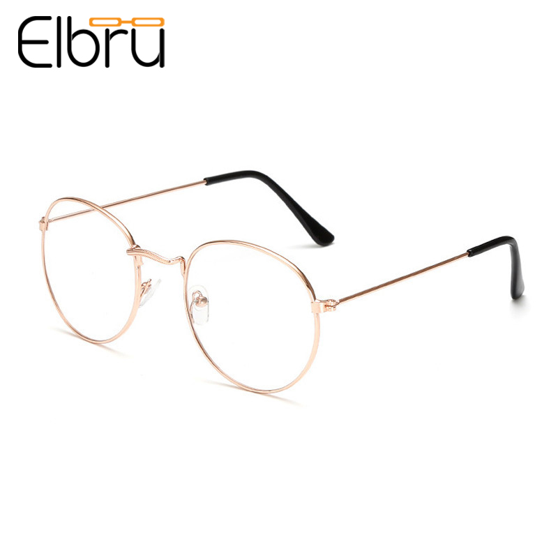 Elbru Fashion Classic Gold Silver Metal Frame Glasses Women Men Classic Vintage Style Optical Glasses For Reading