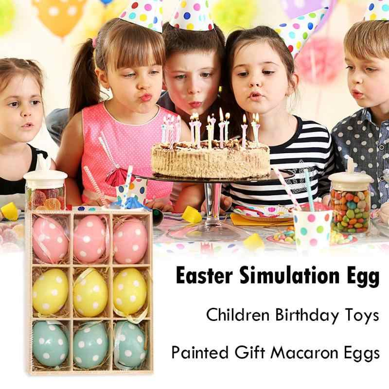 9 unids/caja DIY huevo de Pascua adornos juguetes para niños huevos de plástico pintado decorativo colgante gradiente madera huevo