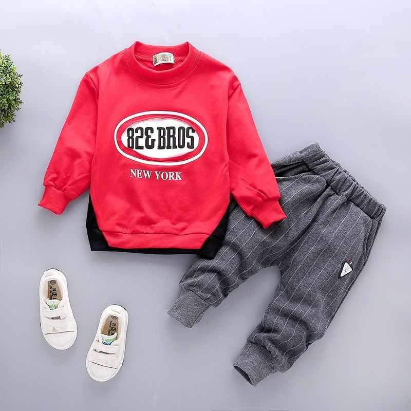 2020 새로운 봄 어린이 소년 코 튼 스포츠 의류 아기 패션 브랜드 T 셔츠 바지 2 개/대/설정 유아 레저 유아 Tracksuits