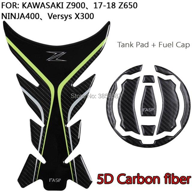 Fasp Real Carbon Fiber Tank Pad Protector Sticker For Z900 Z650 Ninja650 17 Versys X300 Ninja400