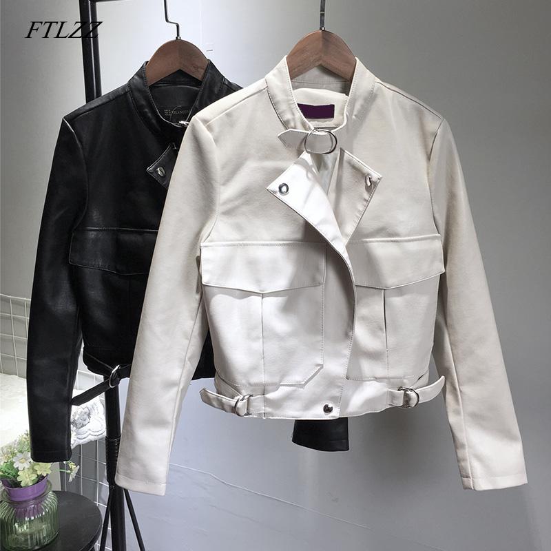 FTLZZ New Women Vintage Pu   Leather   Jacket Autumn Winter Short Design Loose Faux   Leather   Jacket Street Outwear