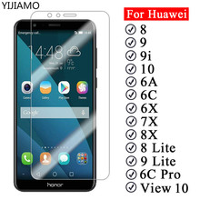 Protective Glass For Huawei Honor 7X 8X 6A 6X 6C Pro 9i 10 Screen Protector for huawei honor 8 9 Lite View 10 Tempered Glass protective glass red line for huawei honor 6c pro full screen 3d white