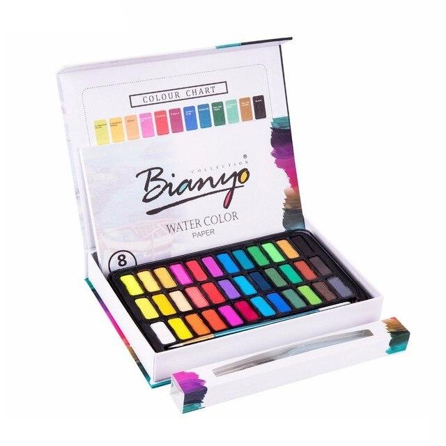 36 Цвета одноцветное акварельные краски комплект с водой Цвет кисть профессиональная живопись рисования водой Цвет пигмент товары для руко...