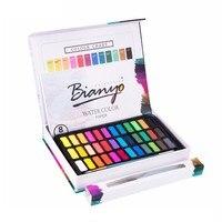 36 цветов однотонные акварельные краски набор с водой цвет кисти ручка профессиональная Живопись Рисунок воды цвет пигмент художественные ...