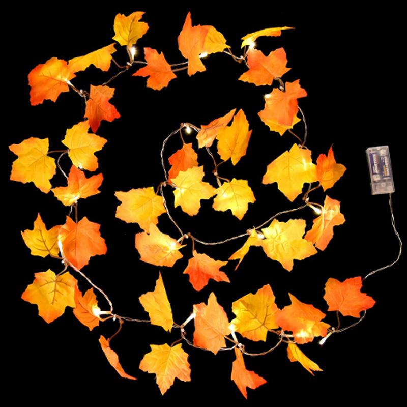 LED String Maple Leaves Fairy Garland String Lights Battery Operated Halloween Garden Home Christmas Tree Decoration