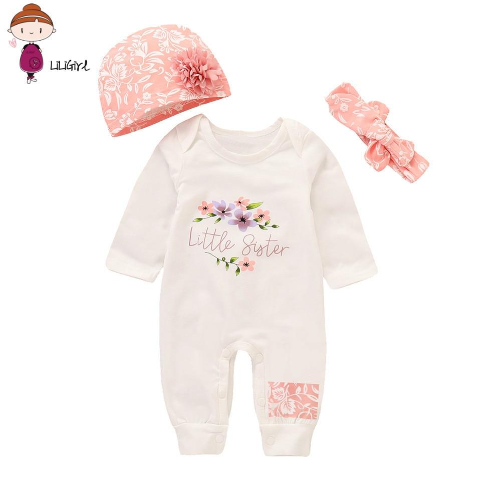 LILIGIRL Newborn Clothes  Spring Autumn Infant Baby Girls Boys Letter Print Romper Jumpsuit Animal Headband Outfits Set