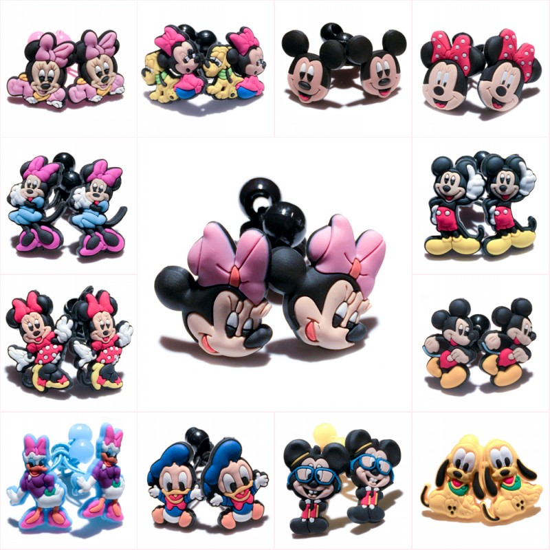 1pair/2pcs Mickey Cute Cartoon PVC Elastic Hairbands Hair Accessories For Girls Rubber Hair Band Headwear Kids Party Gifts