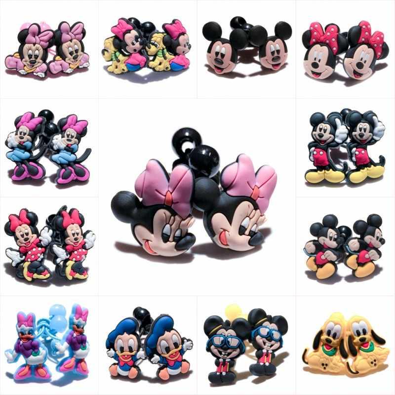 1pair/2pcs Mickey Cute Cartoon PVC Elastic Hairbands Hair Accessories for Girls Rubber Hair Band Headwear Kids Party Gifts