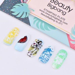 Image 5 - Beautybigbangแผ่นปั๊มเล็บ6*12Cmสแตนเลสฤดูร้อนMermaidสับปะรดภาพStencilสำหรับเล็บArt XL 071
