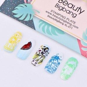 Image 5 - Beautybigbang Nail Stamping Piatti 6*12 centimetri In Acciaio Inox di Estate Sirena Ananas Immagine Stamping Stencil Per Unghie Artistiche XL 071