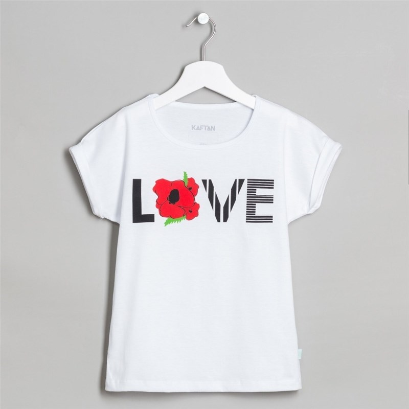 T Shirt Love bel p p 32 5 6 years. 100% cotton skew neck love print t shirt