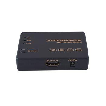 HDMI Switch 4K, 3 port HDMI with IR Control,4K60Hz,HDCP 2.2 HDMI 2.0, Dolby Atmos & ATS, 3 Port auto switching hdmi switcher f