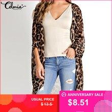 de384748e584 Celmia Vintage Kimono Cardigan Women 2019 Summer Tops Loose Leopard Printed  Blouse Casual Beach Cover Up