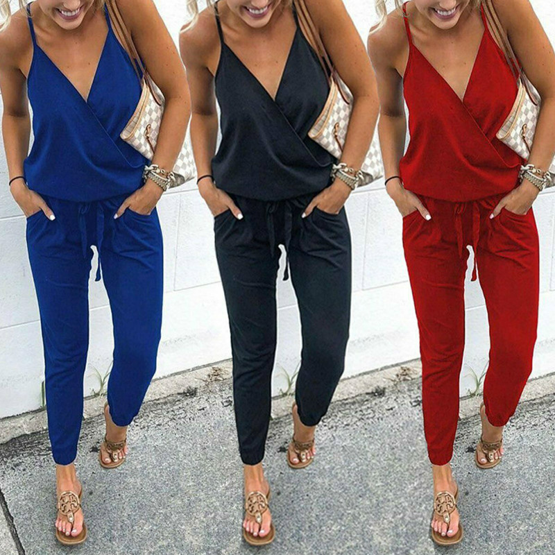 Women Ladies Summer Casual Loose V-neck Solid Jumpsuits