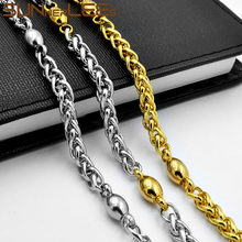 SUNNERLEES Jewelry 316L Stainless Steel Necklace 6mm Geometric Wheat Link Chain Silver Color Gold Plated Men Women Gift SC159 N
