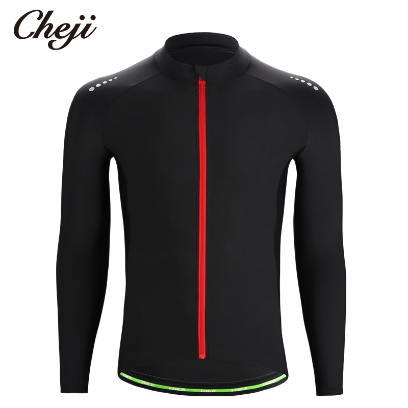 CHEJI 2019 Long Sleeves Mens Cycling Jersey Pure Black High Elastic Quick Dry Bike Shirts Spring Autumn Bicycle Clothes TopsCHEJI 2019 Long Sleeves Mens Cycling Jersey Pure Black High Elastic Quick Dry Bike Shirts Spring Autumn Bicycle Clothes Tops