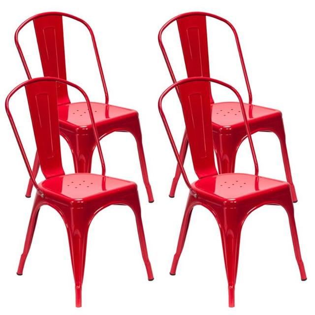 4PCS  Red Iron Backrest Chairs  2