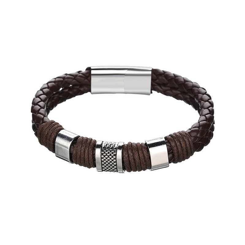 Изящные подарки из цинкового сплава Exquesite, черные плетеные вязаные вечерние браслеты из искусственной кожи, Новое поступление 2018 года, мужские браслеты в стиле панк, 1 шт., кожа коричневого цвета, Лидер продаж