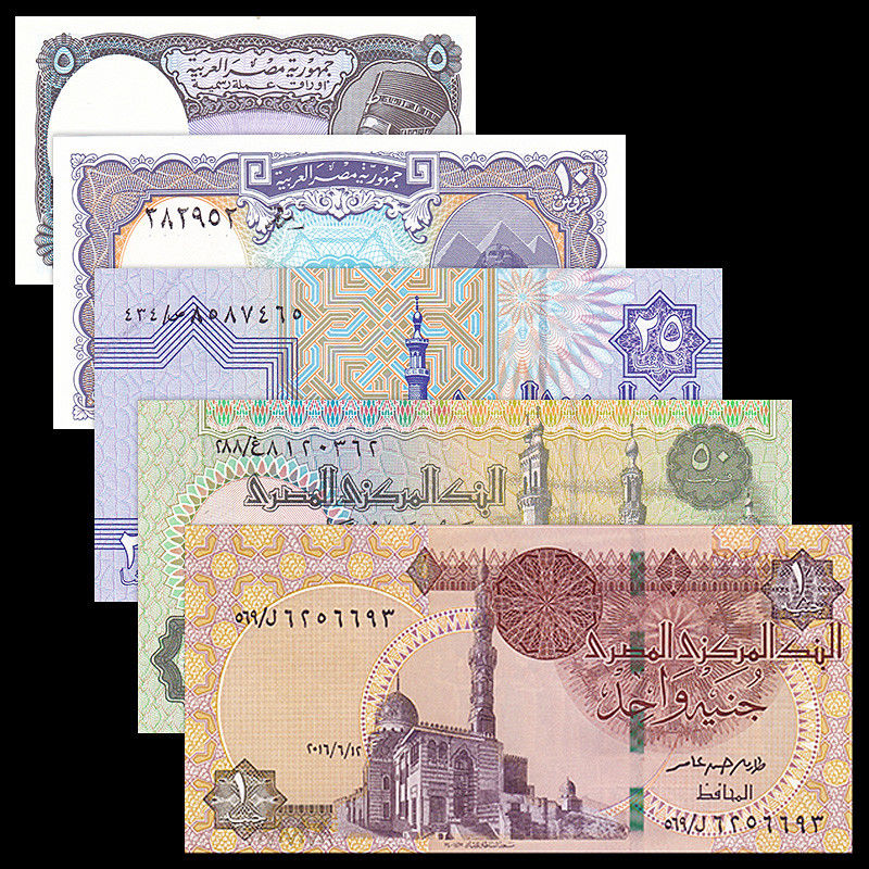 Egypt 5 PCS Set, 5 10 25 50 Piastres -1 Pound, UNC, Uncirculate, Africa, Collectibles, Gift, Genuine, Original, Banknotes