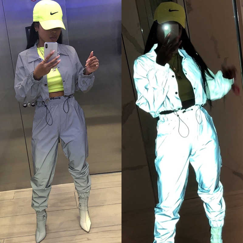 aba29c7abdba0 Trendy Reflective TWO PIECE SET Glitter Tracksuit Women Jacket Crop Top  Sexy Club Outfit Track Suit
