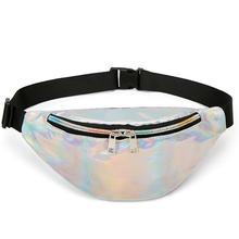 Fashion Laser Shoulder Bag Waist Bags Women Pure Color Fanny Pack Female Belt Black PU Packs Chest Phone Pouch