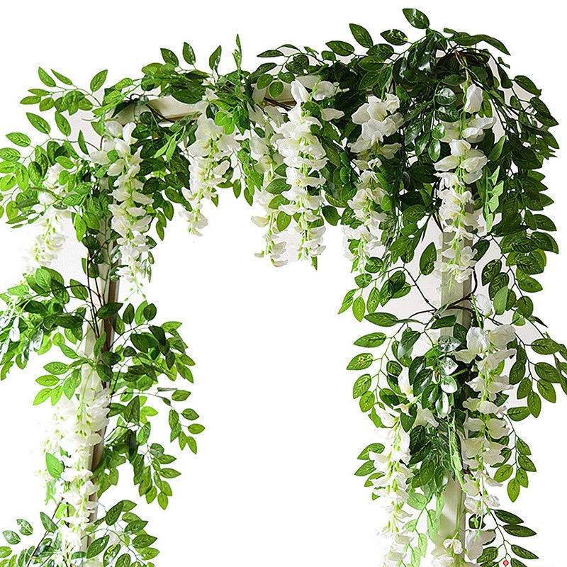 7ft 2m Flower String Artificial Wisteria Vine Garland Plants Foliage Outdoor Home Trailing Flower Fake Flower Hanging Wall Decor(China)