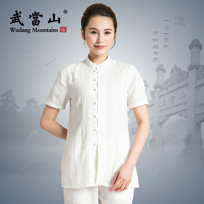 100% Linen Summer New Style Flax Men And Women Tai Chi Uniform Martial Art Clothing For Kung Fu Performance Unisex  Short Sleeve
