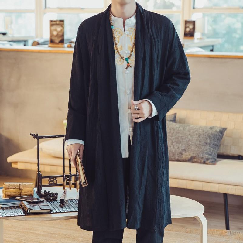 #4373 Kimono Katoen Linnen Trenchcoat Mannen Plus Size 4xl Losse Chinese Stijl Lange Jas Mens Vintage Windjack Casual Jas