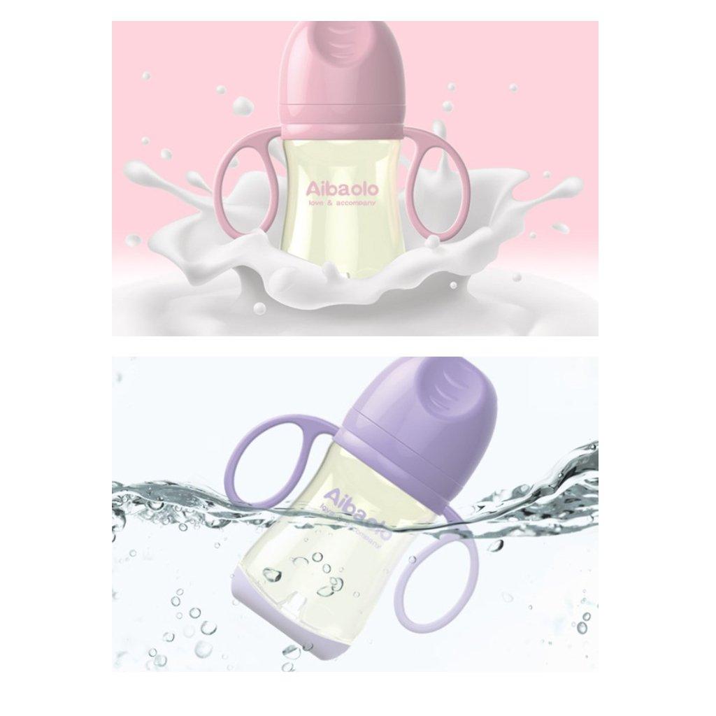 2pcs 300ml Newborn Baby Bottle Milk Bottle with Handle Silicone Gel Feeding Drinking Milk Bottle Cup for Infant Toddler