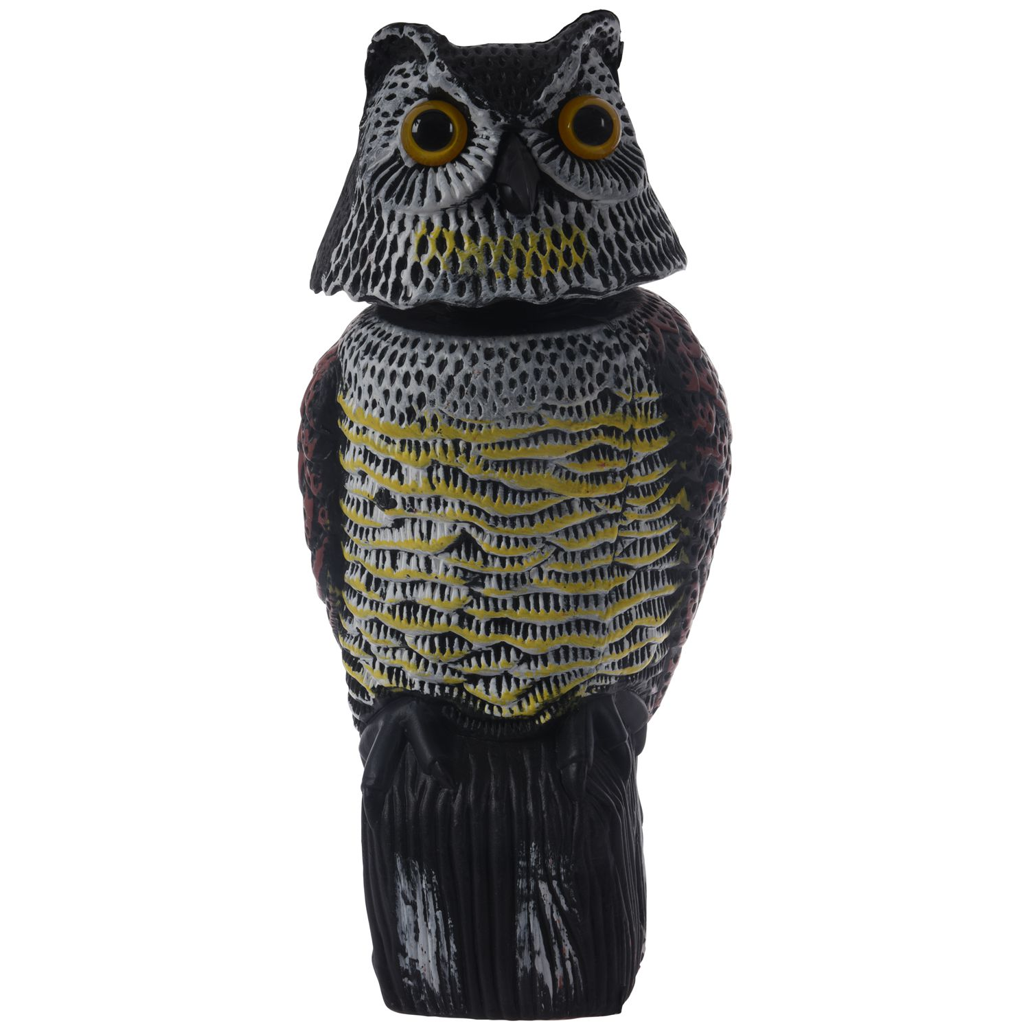Large Realistic Owl Decoy Rotating Head Weed Pest Control Crow ScarecrowLarge Realistic Owl Decoy Rotating Head Weed Pest Control Crow Scarecrow