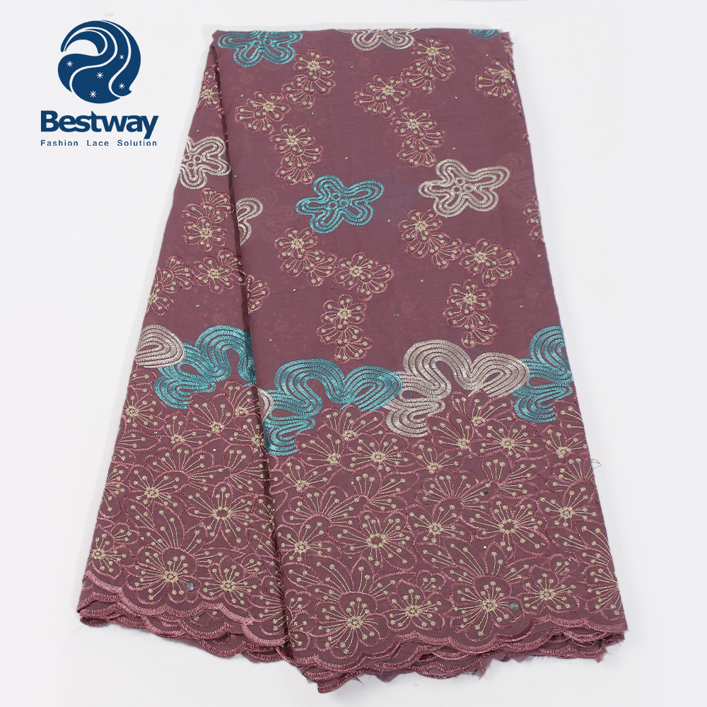 Bestway Nigerian Cotton Material Lace Fabric High Quality Latest Swiss Lace In Switzerland African Fabric Lace Rhinestones Lace