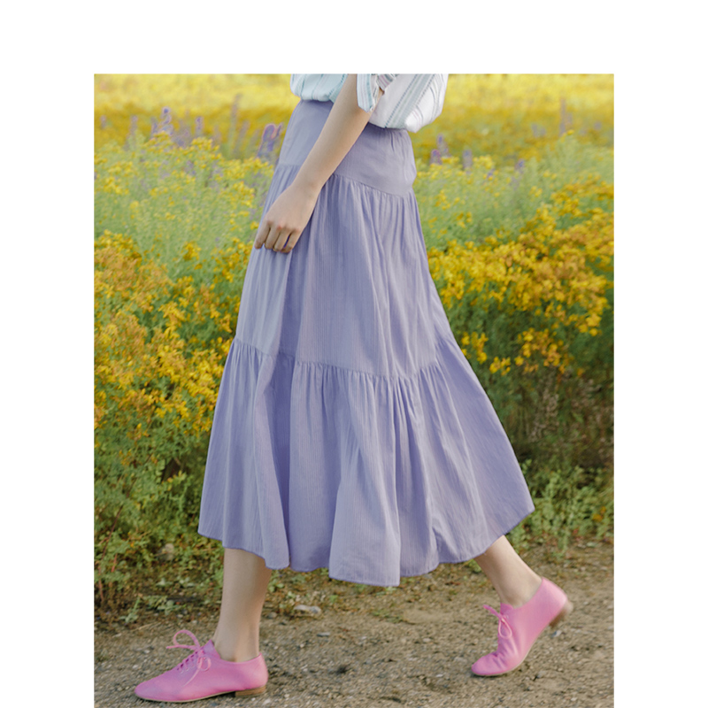 Inman 2019 Summer New Arrival Cotton Solid Split A-Line Literary Minimalism All Matched Women Skirt