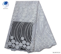 BEAUTIFICAL white nigerian lace embroidery clothes african french lace tulle fabric ML4N741