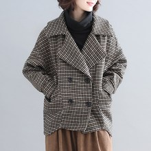 Autumn Winter Drop-Shoulder Loose Outwear Women Double Breasted Woolen Overcoats Casual Turn-Down Collar Plaid Coats