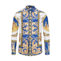 2019 New Arrival Men Shirts Long Sleeve 3d Golden Floral Print Animals Casual Shirts Slim Fitness High Quality Chemise Homme