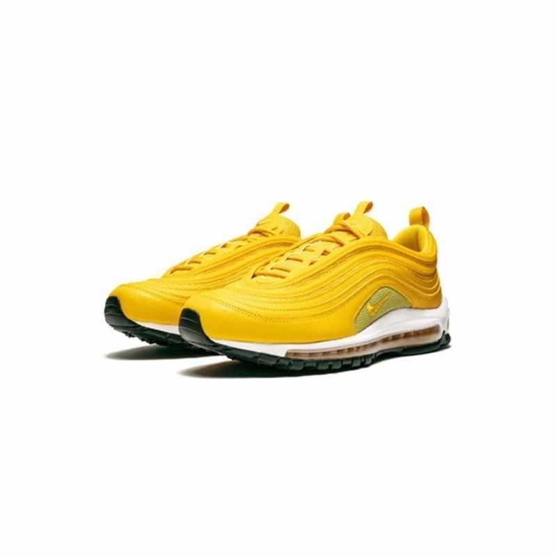 """Nike W Air Max 97 """"горчичный"""" Новое поступление оригинальная полная ладонь воздушная подушка спортивная обувь для мужчин желтая Легкая спортивная обувь #921733-701"""
