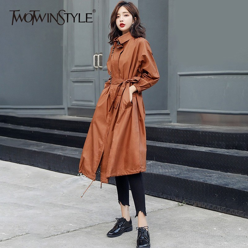 TWOTWINSTYLE Women's Windbreaker Long Sleeve Stand Collar Drawstring Bandage Trench Coat Female Spring Autumn 2018 Fashion New