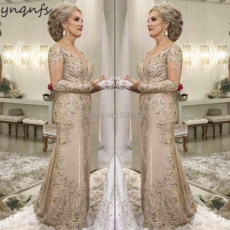 YNQNFS M07 Lace Appliques Long Sleeves Mermaid Vestidos Formal Dress Women Elegant 2019 Mother of the Bride Dresses Champagne(China)