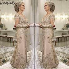 YNQNFS M07 кружевные длинные рукав с накладной аппликацией русалки Vestidos торжественное платье Для женщин элегантные для матери невесты Платья бокал для шампанского
