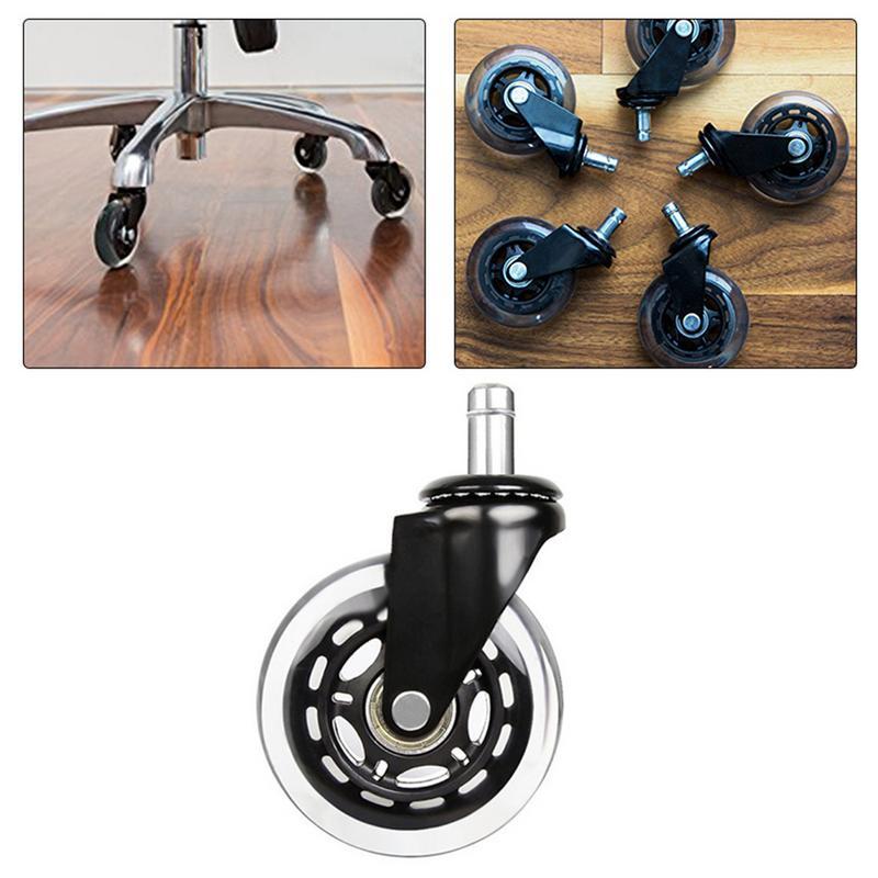 1pc cadeira de escritório rodízio rodas rolo rodízio roda substituição 3 Polegada rodas rodízio borracha giratória rolos móveis ferragem-1