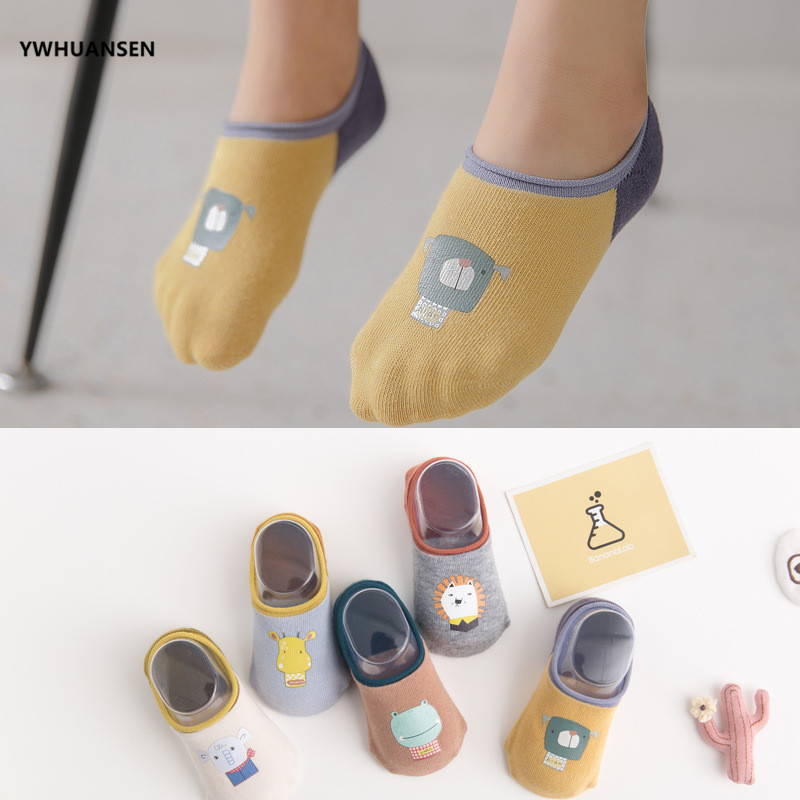 YWHUANSEN 5 Pairs/lot Animal Print Children Boat Invisible Socks Cotton Unisex Low Cut Baby Kids Anti-slip Ankle Socks For Girls