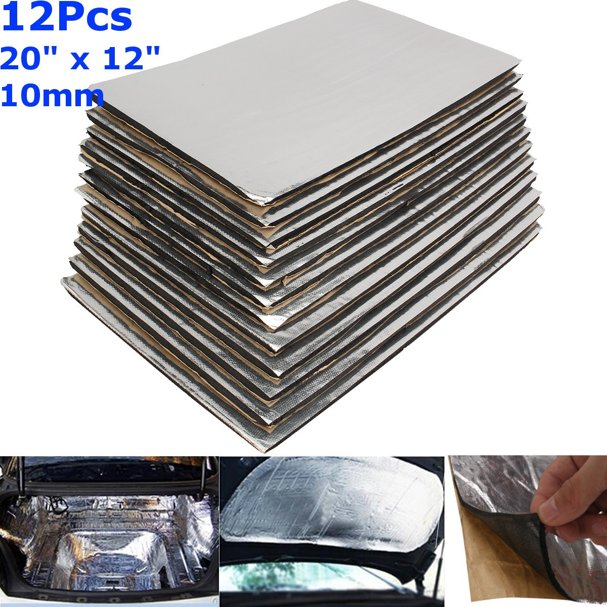 12pcs 10mm Car Sound Mat Proofing Deadener Heat Noise Insulation Deadening Mat Hood Closed Cell Foam 50*30cm